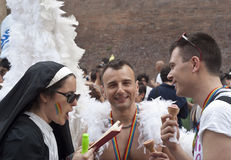 Participants at gay pride 2012 of Bologna. BOLOGNA - JUNE 9: 30,000 people took part in the Bologna Gay Pride parade to support gay rights, on June 09, 2012 in stock images