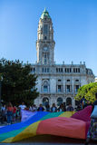 Participants at the Gay Pride parade in the centre of the old downtown. PORTO, PORTUGAL - JULY 1, 2017: Participants at the Gay Pride parade in the centre of royalty free stock images