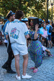 Participants at the Gay Pride parade in the centre of the old downtown. PORTO, PORTUGAL - JULY 1, 2017: Participants at the Gay Pride parade in the centre of royalty free stock image