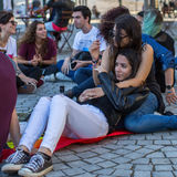 Participants at the Gay Pride parade in the centre of the old downtown. PORTO, PORTUGAL - JULY 1, 2017: Participants at the Gay Pride parade in the centre of stock photos