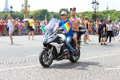 The participants of Gay pride parade at Concorde place in Paris, France. stock image