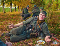Participants of historical reconstruction  on rest Stock Photos