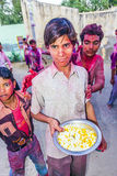 Participants of the Holi festival of colours in Mandawa Royalty Free Stock Photo