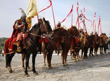 Participants on horse of military historical festi Stock Images