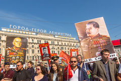 Participants of Immortal Regiment -  international public action Royalty Free Stock Photography