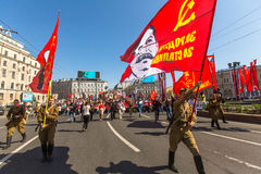 Participants of Immortal Regiment -  international public action, which takes place in Russia  in the Victory Day - May 9. Royalty Free Stock Photos