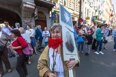 Participants of Immortal Regiment - public action Stock Photos