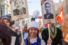 Participants of Immortal Regiment - public action, during which participants carried banners/portraits Stock Photography