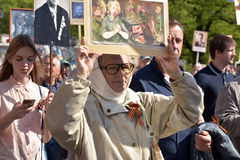 Participants of Immortal Regiment - public action, during which participants carried portrait Royalty Free Stock Photography