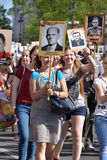 Participants of Immortal Regiment - public action, during which participants carried portrait Stock Photography