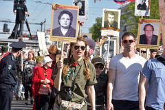 Participants of Immortal Regiment - public action, during which participants carried portrait Royalty Free Stock Images