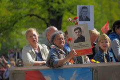 Participants of Immortal Regiment - public action, during which participants carried portrait Royalty Free Stock Photo