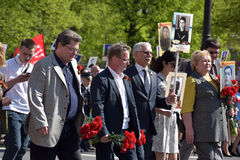 Participants of Immortal Regiment - public action, during which participants carried portrait Stock Images
