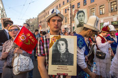 Participants of Immortal Regiment - public action, during which participants carried portraits Royalty Free Stock Photography