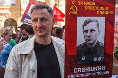Participants of Immortal Regiment - public action, during which participants carried portraits of their relatives Royalty Free Stock Photo