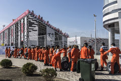 Participants of the inaugural Russian Grand Prix. Waiting in fro. Sochi, Russia -12 November 2014 : Formula One, Russian Grand Prix,  Sochi autodrom , 16 stage Royalty Free Stock Image
