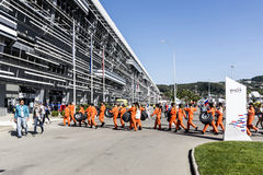 Participants of the inaugural Russian Grand Prix. Waiting in fro Stock Photo