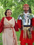 The participants of the international festival Times and epochs. Ancient Rome royalty free stock photography