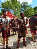 The participants of the international festival  Times and epochs. Ancient Rome. This historical reenactment took place in a park- reserve Kolomenskoe, Moscow Royalty Free Stock Image