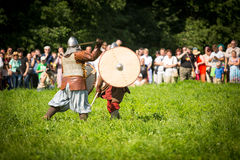 Participants during of international historical festival of medieval culture Stock Photos