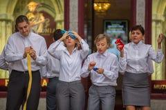Participants of Krakow Theatre Night festival -KTO Teatre  in Main Market Square. Royalty Free Stock Photos
