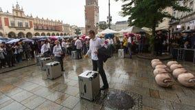 Participants of Krakow Theatre Night festival - KTO Teatre (Peregrinus) in Main Market Square. Stock Photography