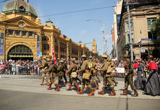Participants marching during Australia Day Parade in Melbourne Royalty Free Stock Images