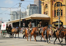 Participants marching during Australia Day Parade in Melbourne Royalty Free Stock Image