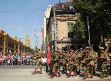 Participants marching during Australia Day Parade in Melbourne Stock Image