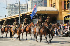 Participants marching during Australia Day Parade in Melbourne Stock Photos