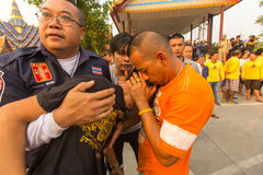 Participants of Master Day Ceremony at able Khong Khuen - spirit possession during the Wai Kroo ritual at Bang Pra monastery Royalty Free Stock Image