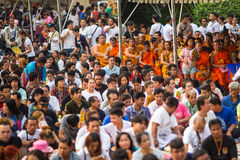 Participants of Master Day Ceremony at able Khong Khuen during the Wai Kroo ritual at Bang Pra monastery Stock Photo