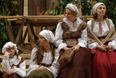 Participants of medieval costume party Royalty Free Stock Photography