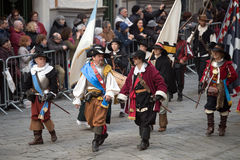 Participants of medieval costume party Stock Image