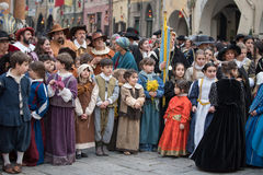 Participants of medieval costume party Royalty Free Stock Images