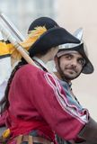 Participants of medieval costume party. Taggia, Italy - March 17, 2018: Participants of medieval costume party in the historic city of Taggia in Liguria region royalty free stock images