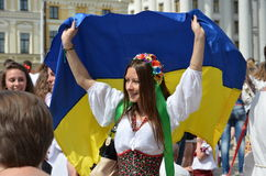 Participants of Mega march of embroideries in Kyiv Stock Photo