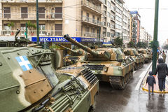 Participants and military equipment during Military parade at national holiday Stock Photography