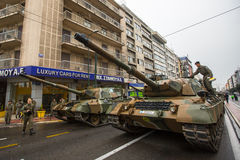 Participants and military equipment during Military parade at national holiday Stock Image
