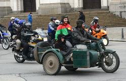 Participants in the motorcycle procession on 28 march 2015, Sofia, Bulgaria Royalty Free Stock Images