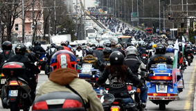 Participants in the motorcycle procession on 28 march 2015, Sofia, Bulgaria Stock Photos