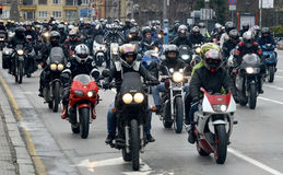 Participants in the motorcycle procession on 28 march 2015, Sofia, Bulgaria Royalty Free Stock Image