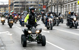 Participants in the motorcycle procession on 28 march 2015, Sofia, Bulgaria Royalty Free Stock Photos