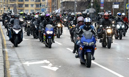 Participants in the motorcycle procession on 28 march 2015, Sofia, Bulgaria Royalty Free Stock Photography