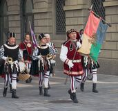 Procession of medieval musicians Stock Photography