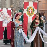 Women of the Middle Ages. Participants of the National championship of the medieval flag bearers and musicians in Faenza, Italy Royalty Free Stock Images