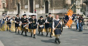 Medieval procession bearers Royalty Free Stock Image