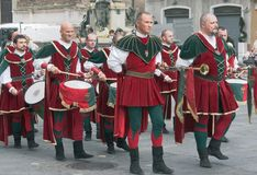 Procession of medieval musicians Stock Photos