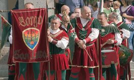 Medieval drummers and flag bearers Stock Photo