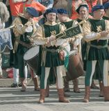 Medieval trumpeter Stock Images